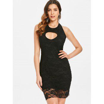 Backless Lace Bodycon Dress - BLACK S