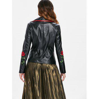 Applique Faux Leather Biker Jacket - BLACK L