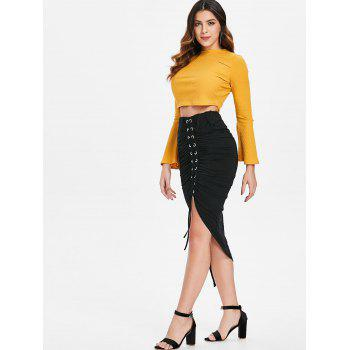 Asymmetrical Lace Up Ruched Bodycon Skirt - BLACK M
