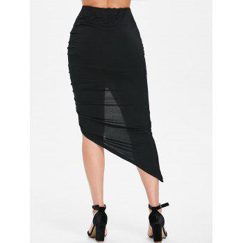 Asymmetrical Lace Up Ruched Bodycon Skirt - BLACK L