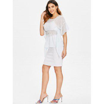 Dolman Sleeve Skirted Blouse with Tank Top - WATER L