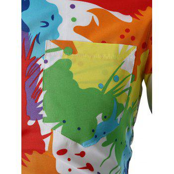 Colorful Paint Splatter Button Up Shirt - WHITE L