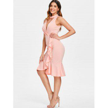 Cut Out Flounce Trim Small Fishtail Dress - LIGHT PINK 2XL