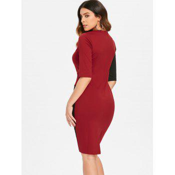 Contrast Sheath Dress - CRANBERRY M