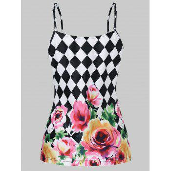Floral Checked Lace Up Corset Tank Top - multicolor XL
