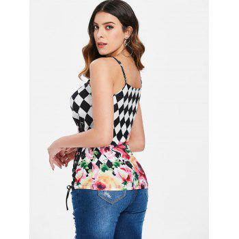 Floral Checked Lace Up Corset Tank Top - multicolor 2XL