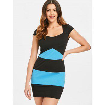 Two Tones Cap Sleeve Mini Bodycon Dress - multicolor L