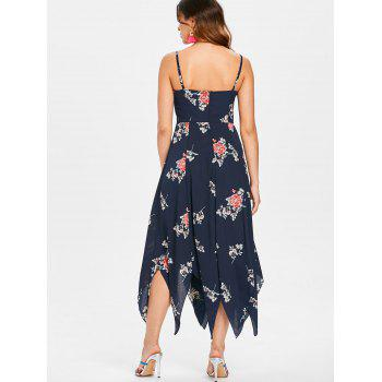 Flower Printed Asymmetrical Maxi Dress - DARK SLATE BLUE L