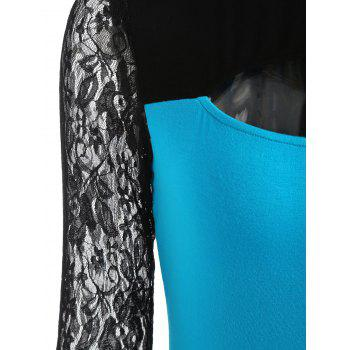 Two Tones Cut Out Long Sleeve T-shirt - BUTTERFLY BLUE 2XL