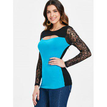 Two Tones Cut Out Long Sleeve T-shirt - BUTTERFLY BLUE XL
