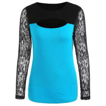 Two Tones Cut Out Long Sleeve T-shirt - BUTTERFLY BLUE M