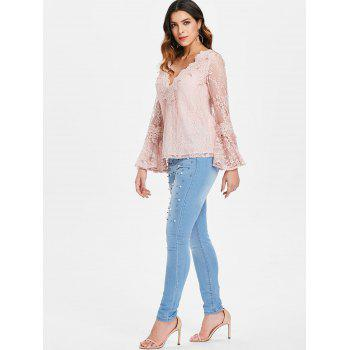 Bell Sleeve Lace Top - LIGHT PINK S