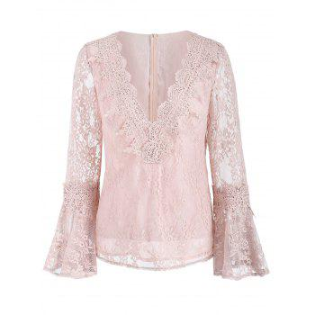 Bell Sleeve Lace Top - LIGHT PINK 2XL