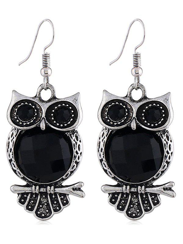 Owl Design Drop Hook Earrings - BLACK