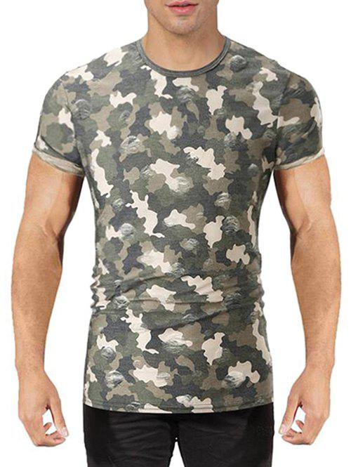 Destroyed Camo Print T-shirt - GREEN L