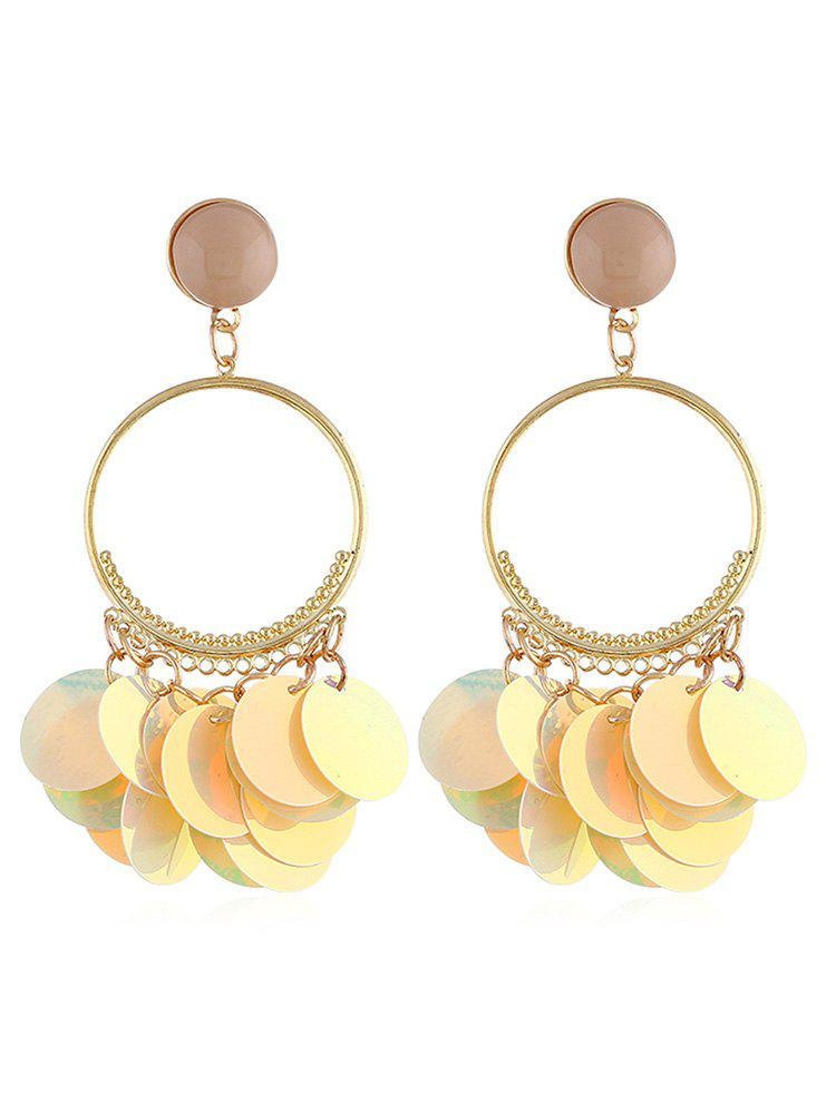 Elegant Round Sequins Fringed Drop Earrings - YELLOW