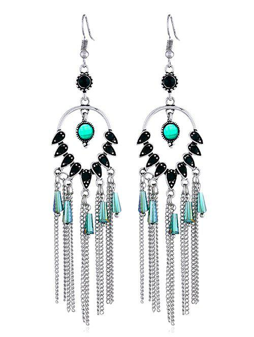 Water Drop Design Chain Tassel Hook Earrings - GREEN