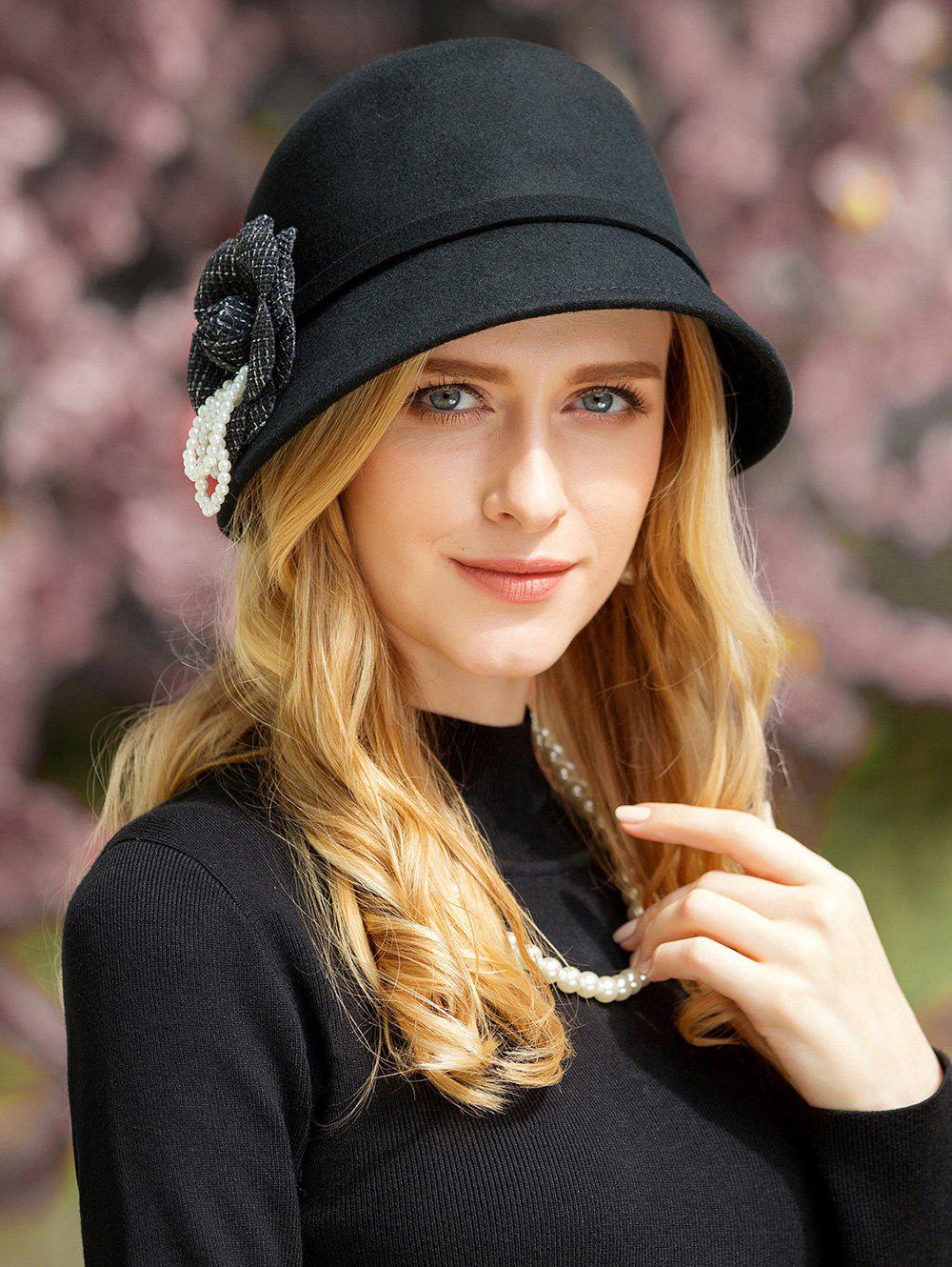 Stylish Solid Color Flower Cocktail Party Hat - BLACK