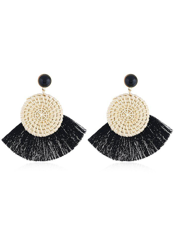 Boho Fan Fringed Knit Round Drop Earrings - BLACK