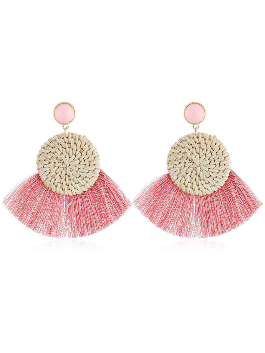 Boho Fan Fringed Knit Round Drop Earrings - LIGHT PINK