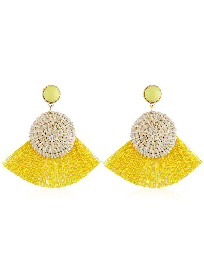 Boho Fan Fringed Knit Round Drop Earrings - YELLOW