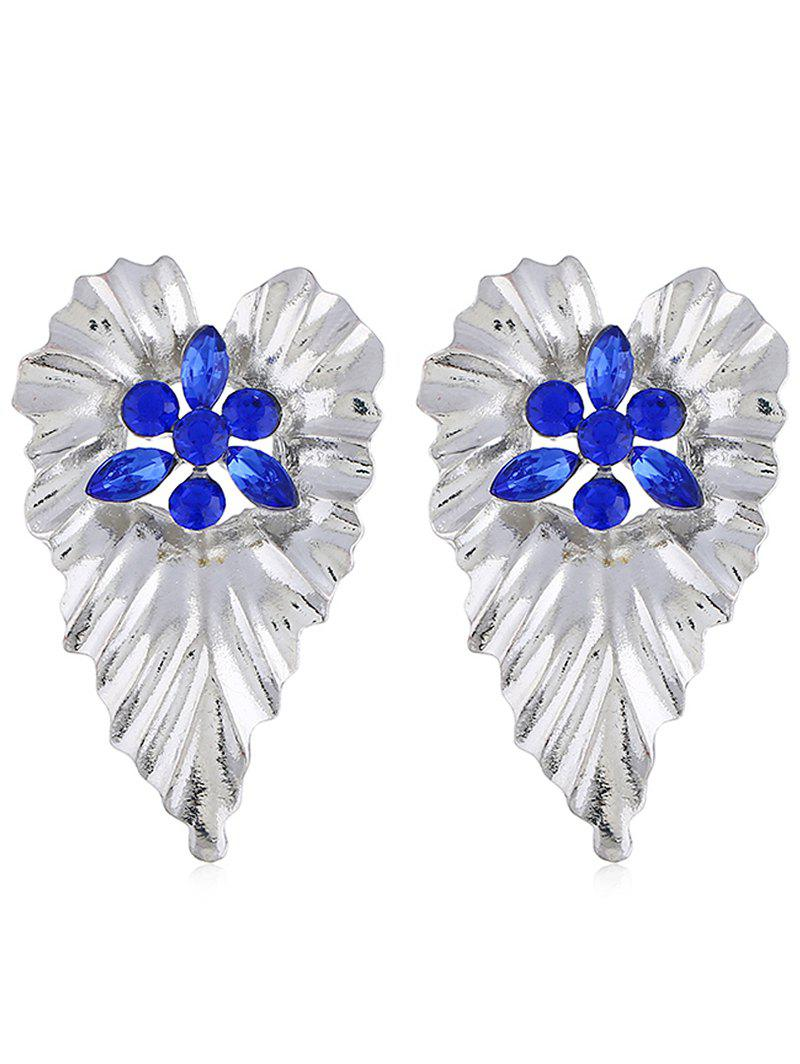 Bohemian Faux Crystal Inlaid Leaf Drop Earrings - BLUE