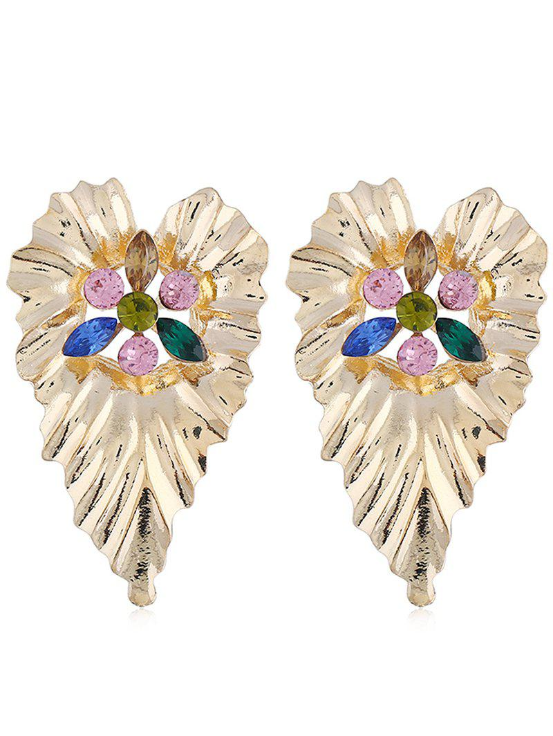 Bohemian Faux Crystal Inlaid Leaf Drop Earrings - multicolor A