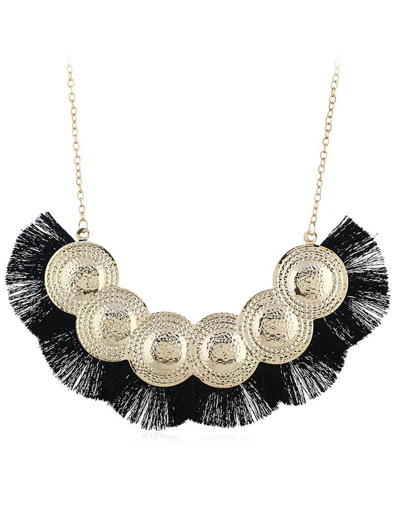 Boho Geometric Fringed Alloy Pendant Necklace - BLACK