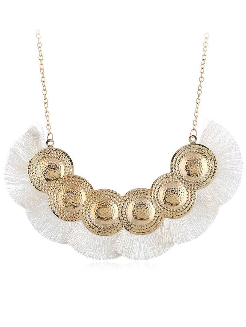 Boho Geometric Fringed Alloy Pendant Necklace - WHITE