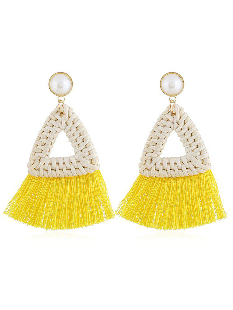 Overstatement Triangle Fringed Drop Earrings - YELLOW