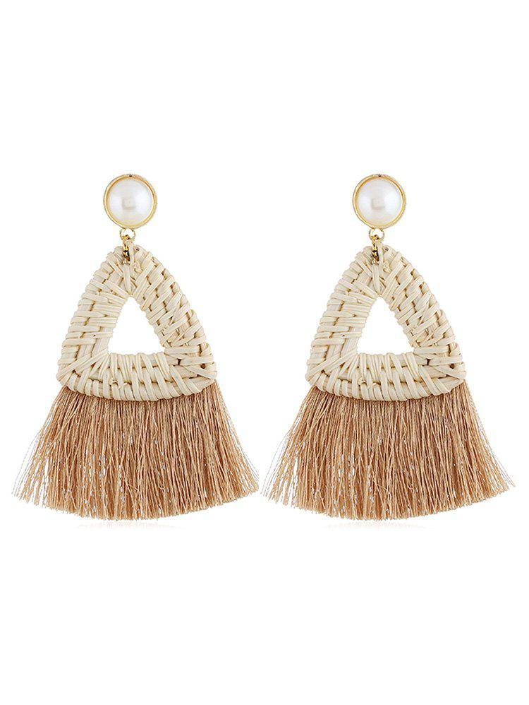 Overstatement Triangle Fringed Drop Earrings - BROWN