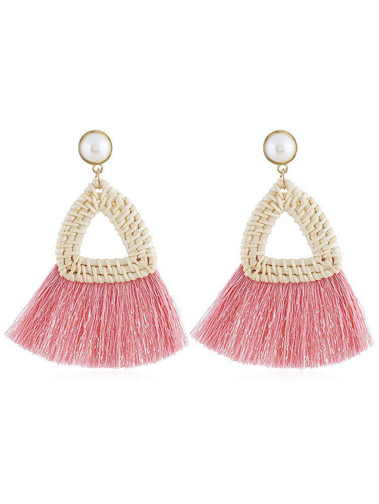 Overstatement Triangle Fringed Drop Earrings - PINK