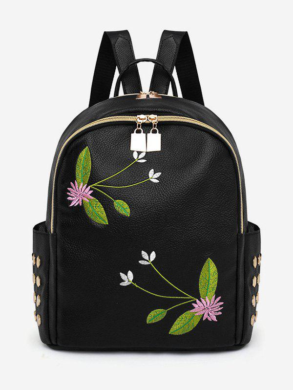 All Purpose Patchwork Studs Embroidery Backpack - multicolor B