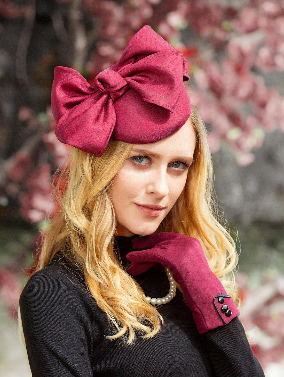 Stylish Big Bowknot Tea Party Cocktail Hat - RED WINE