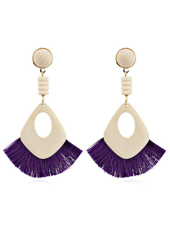 Hollow Out Boho Tassel Dangle Earrings - PURPLE