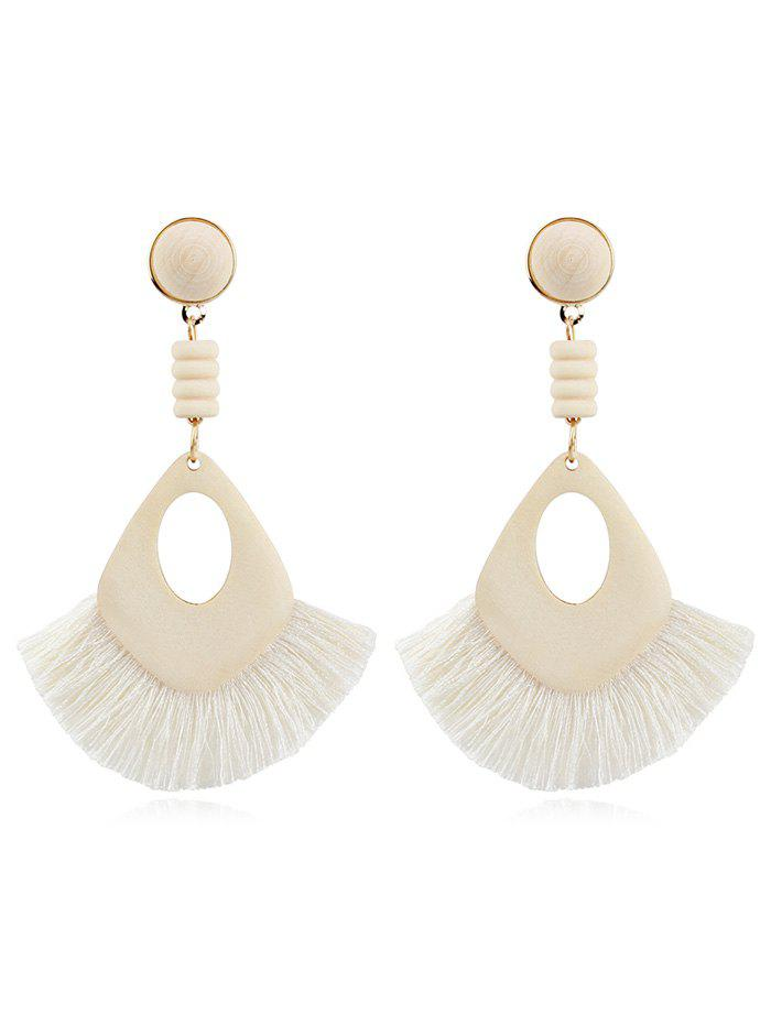 Hollow Out Boho Tassel Dangle Earrings - WHITE