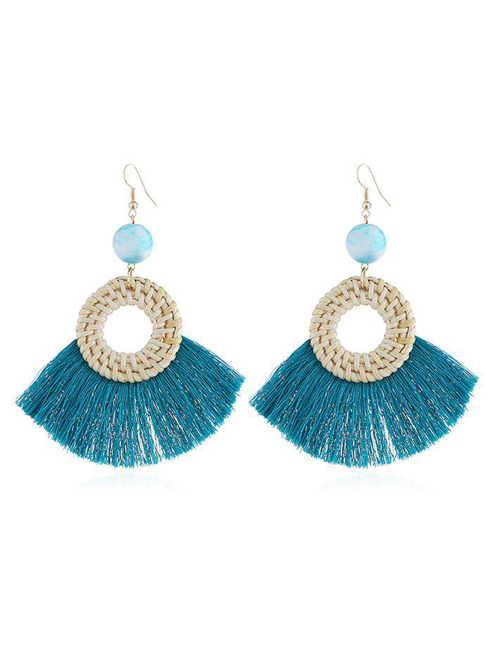 Geometric Fringed Knit Boho Drop Earrings - DARK TURQUOISE