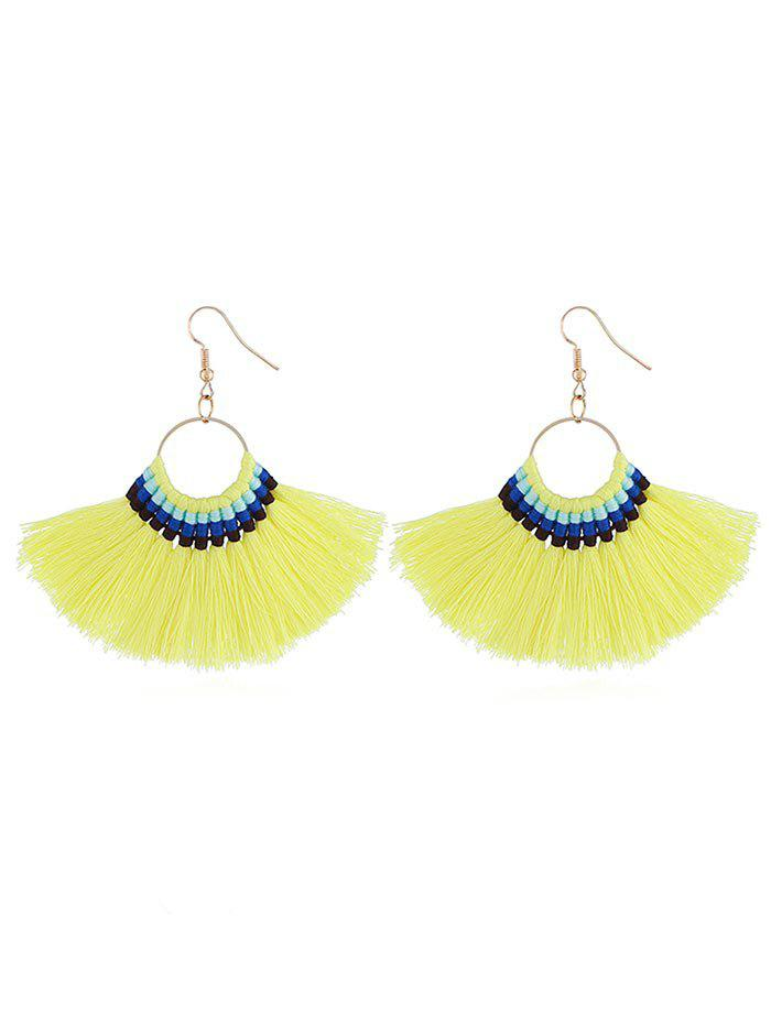 Bohemian Fan Shaped Fringed Drop Earrings - YELLOW