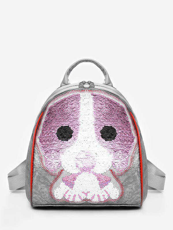 Fashion Dazzling Sequined Cartoon Backpack - GRAY