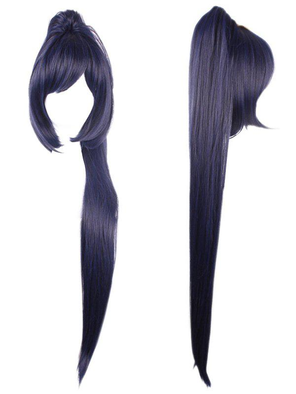 Inclined Bang Long Ponytail Synthetic Game Character Cosplay Wig - PURPLE HAZE