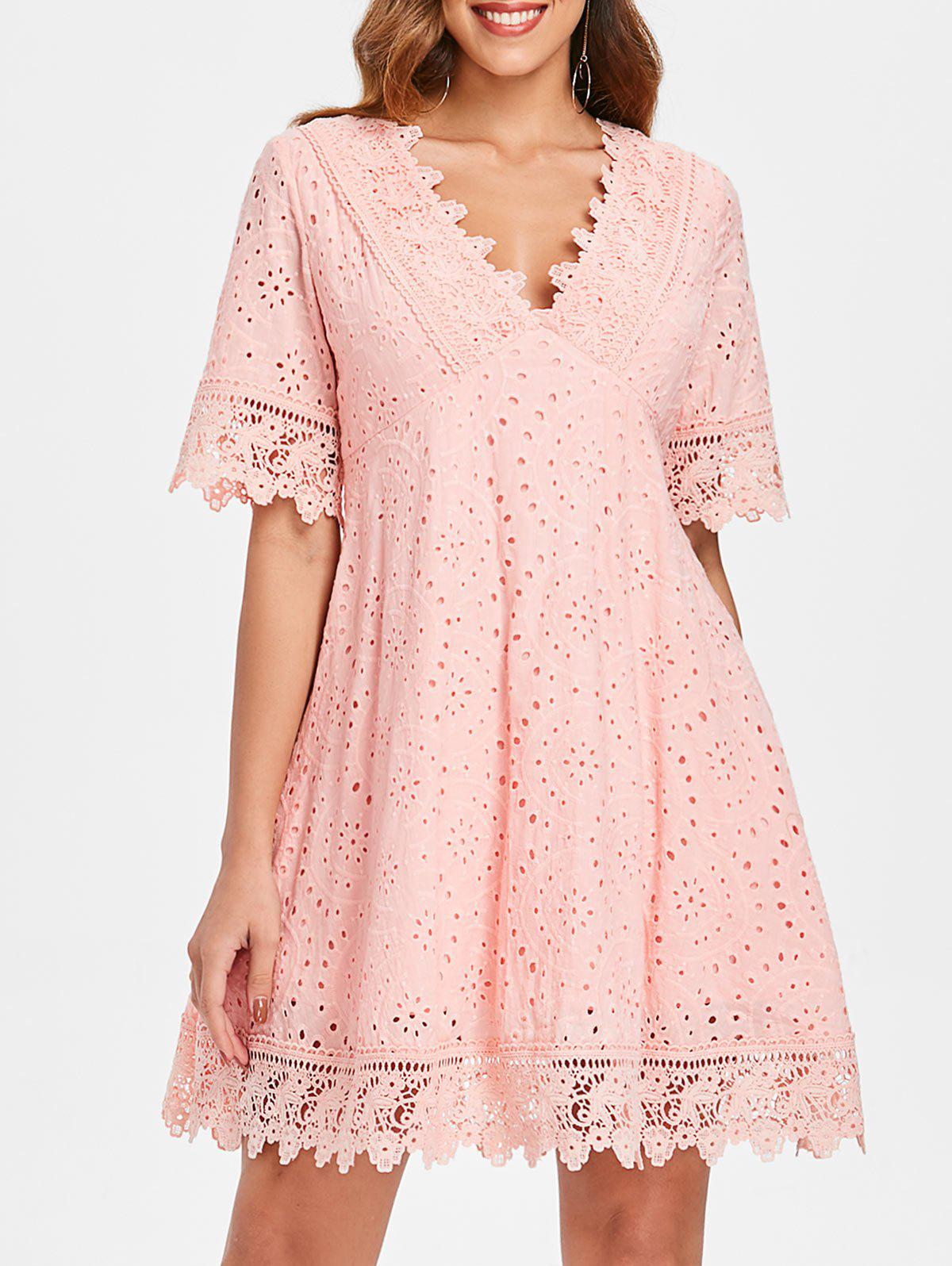 Low Cut Eyelet Mini Swing Dress - LIGHT PINK L
