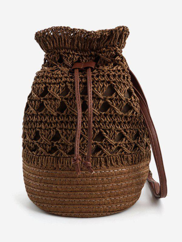 Straw Leisure String Holiday Crossbody Bag - COFFEE