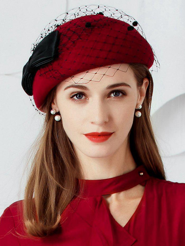 Bowknot Mesh Soften Tea Party Hat - RED WINE