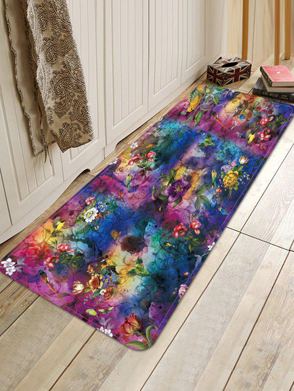 Flower Birds Tie-dye Print Anti-skid Area Rug - multicolor W24 INCH * L35.5 INCH