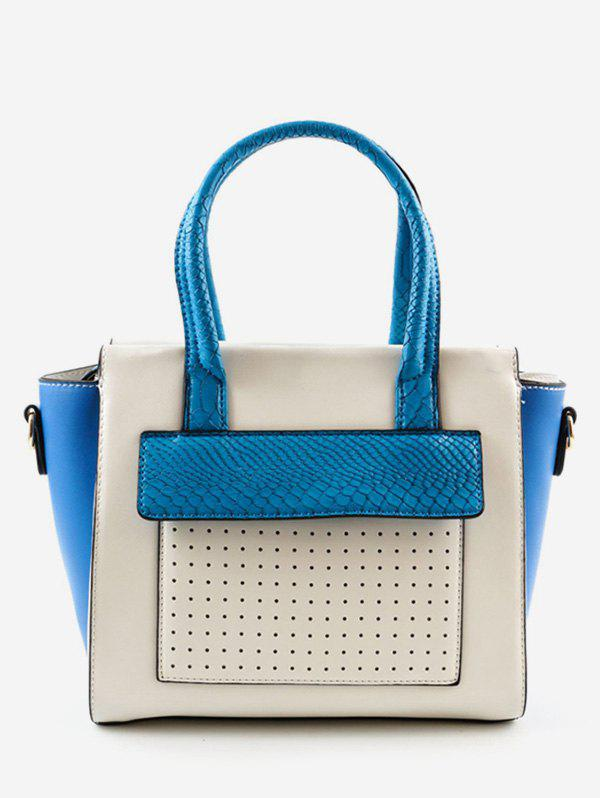 Front Pocket Chic Color Block Handbag - BLUE
