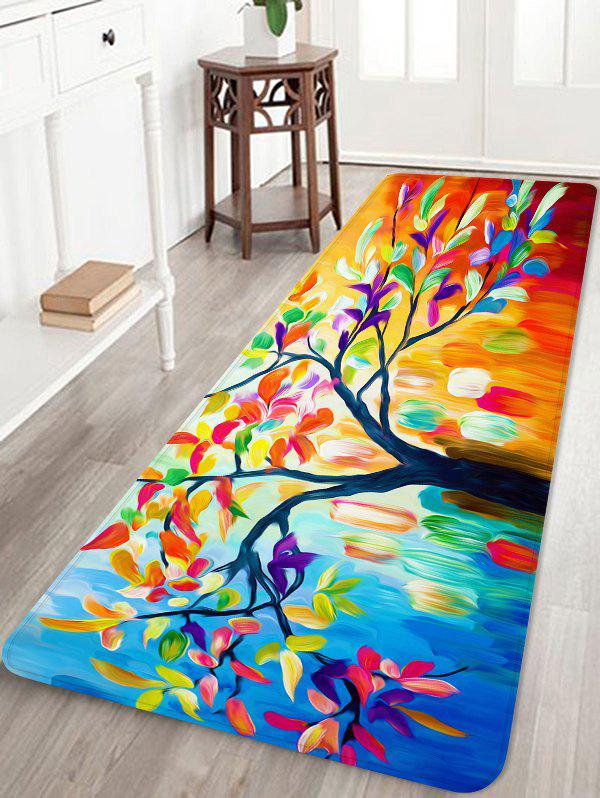 Oil Painting Tree Leaves Print Anti-skid Area Rug - multicolor W24 INCH * L71 INCH