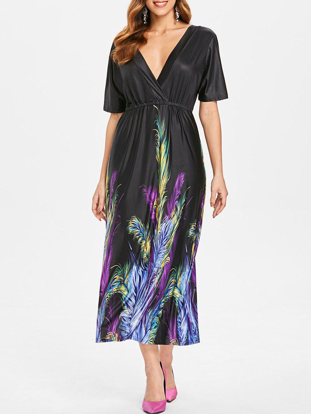 Feather Print Maxi Dress - BLACK S
