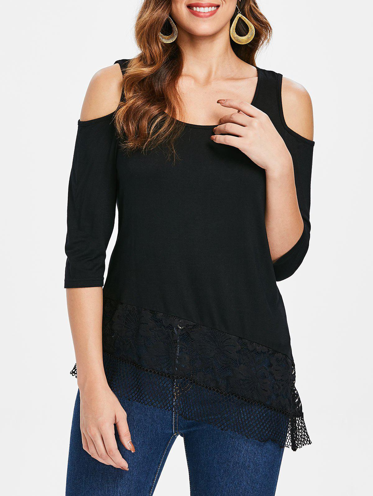 Lace Insert Cold Shoulder Tee - BLACK 2XL