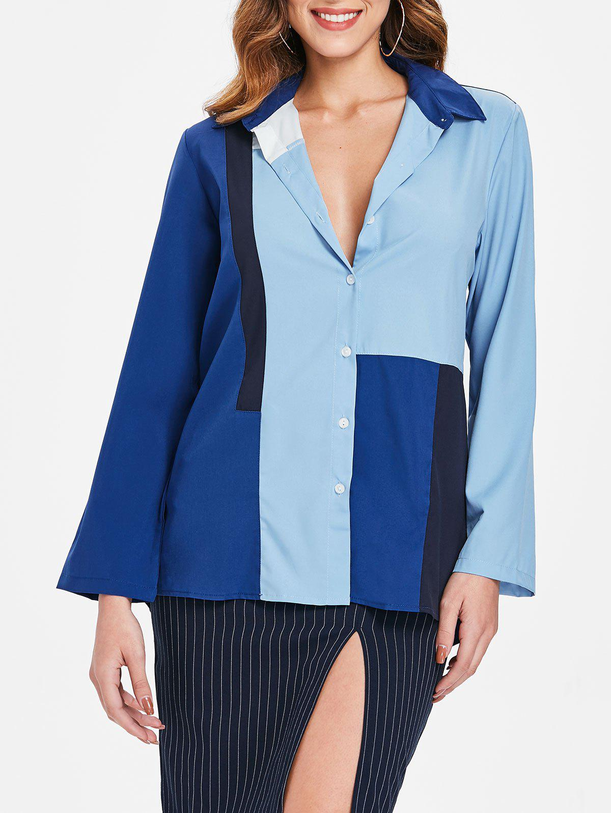 Long Sleeve Color Block Shirt