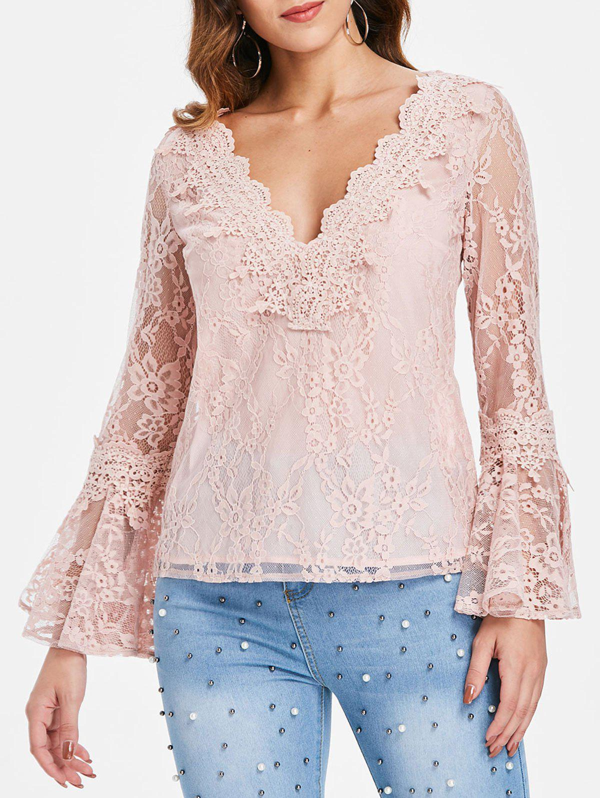 Bell Sleeve Lace Top - LIGHT PINK L